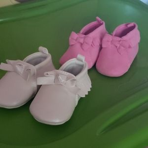 2 Pair Baby Girl Crib Moccasins 0-3M